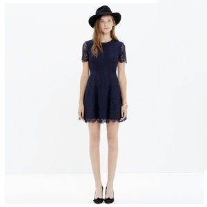 Madewell Navy Blue Lace Floral Night Out Dress